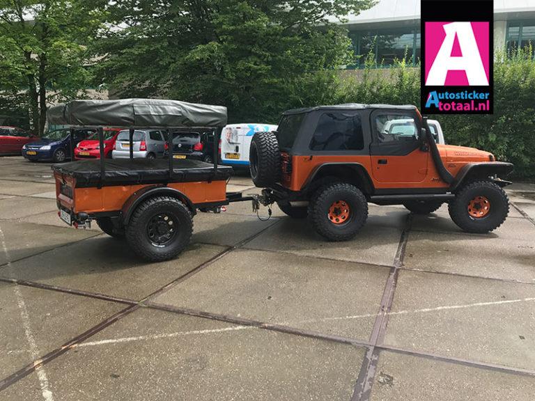 Jeep Wrangler Carwrap Orange + aanhanger